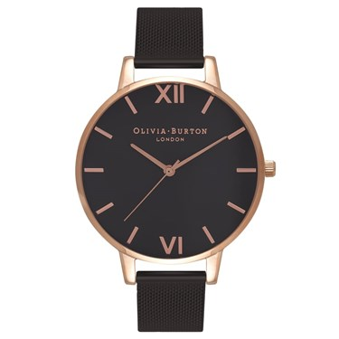 Olivia Burton Rose Gold & Black Mesh Watch  - Click to view larger image