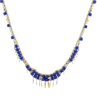 August Woods Blue & Gold Necklace  - Click to view larger image
