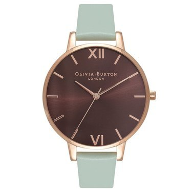 Olivia Burton Brown Big Dial Mint & Rose Gold Watch  - Click to view larger image