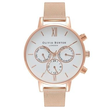 Olivia Burton Rose Gold Chrono Detail Mesh Watch  - Click to view larger image