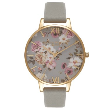 Olivia Burton Flower Show Grey & Gold Watch  - Click to view larger image