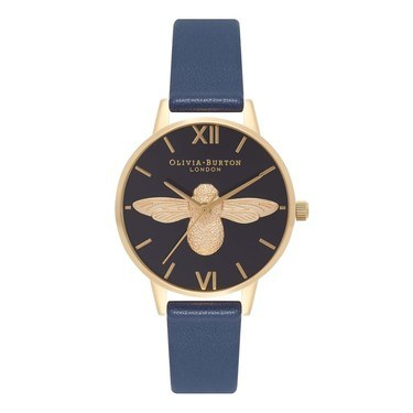 Olivia Burton Navy & Gold Midi Moulded Bee Watch  - Click to view larger image