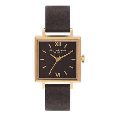 Olivia Burton Square Dial Black & Gold Watch  - Click to view larger image