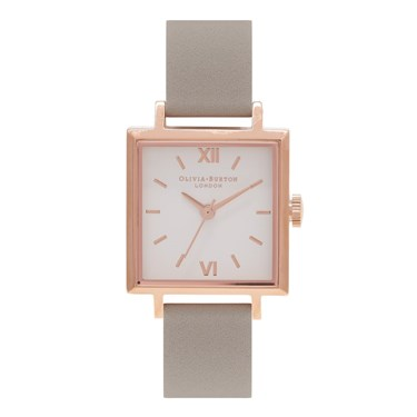 Olivia Burton Square Dial Rose Gold & Grey Watch  - Click to view larger image