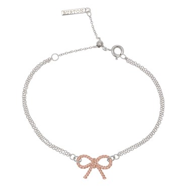 Olivia Burton Silver & Rose Gold Bow Bracelet  - Click to view larger image