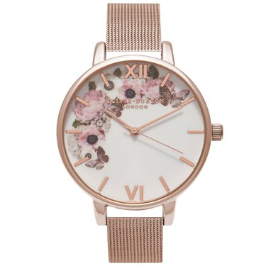 Olivia Burton Winter Garden Rose Gold Mesh Watch  - Click to view larger image