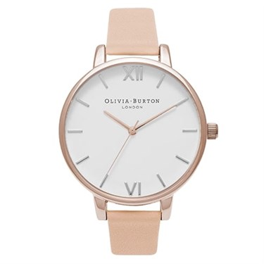 Olivia Burton White Big Dial Nude Peach Watch  - Click to view larger image