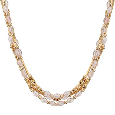 August Woods Pink Crystal Layered Necklace  - Click to view larger image