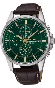 Seiko Mens Green Dial Chronograph Watch