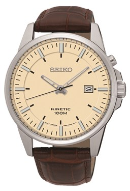 Seiko Mens Brown Leather Kinetic Watch  - Click to view larger image