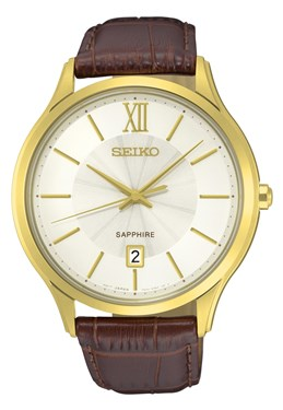Seiko Mens Brown Leather & Gold Watch