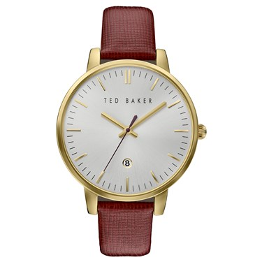 Ted Baker Burgundy Strap & Gold Kate Watch  - Click to view larger image