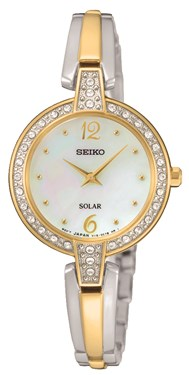 Seiko Solar Crystal Silver & Gold Watch