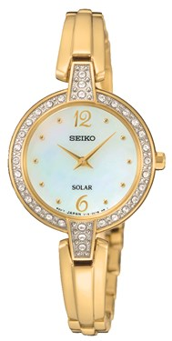 Seiko Solar Crystal Gold Watch