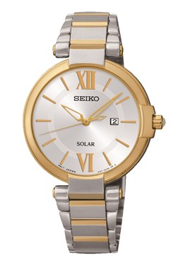 Seiko Solar Silver & Gold Watch