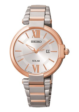 Seiko Solar Rose Gold & Silver Watch