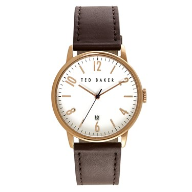 Ted Baker Men's Brown Strap & White Dial Daniel Watch  - Click to view larger image