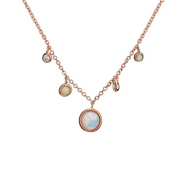 Argento Rose Gold & Opal Drop Necklace  - Click to view larger image