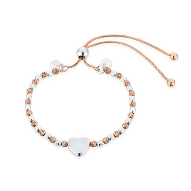 Argento Rose Gold & Silver Heart Pull Bracelet  - Click to view larger image