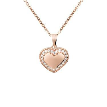 Argento Rose Gold Crystal Border Heart Necklace  - Click to view larger image