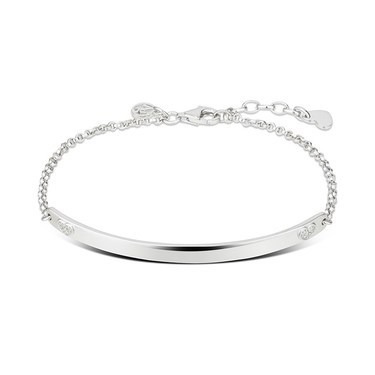 Argento Silver Crystal Hearts Bar Bracelet  - Click to view larger image