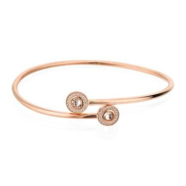 Argento Rose Gold Champagne Crystal Bangle  - Click to view larger image