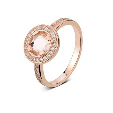 Argento Rose Gold Champagne Crystal Ring  - Click to view larger image