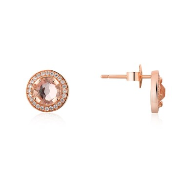Argento Rose Gold Champagne Crystal Stud Earrings  - Click to view larger image