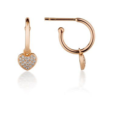 Argento Rose Gold Pave Heart Hoop Earrings Click To View Larger Image