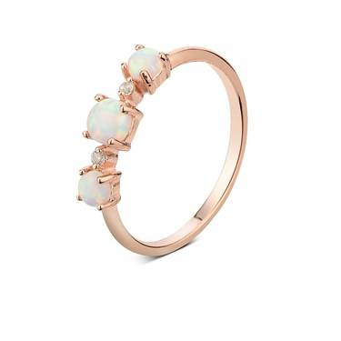 Argento Rose Gold & Opal Ring  - Click to view larger image