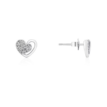 Argento Silver Pave Heart Stud Earrings  - Click to view larger image