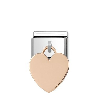 Nomination Rose Gold Heart Engraving Charm  - Click to view larger image