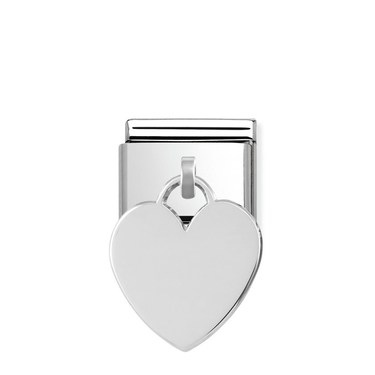 Nomination Silver Heart Engraving Charm  - Click to view larger image