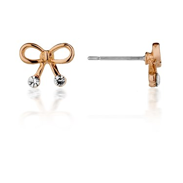 August Woods Petite Rose Gold Bow Earrings  - Click to view larger image