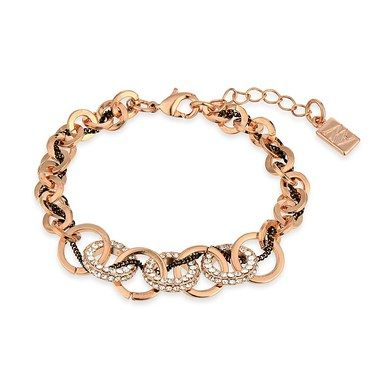 August Woods Rose Gold CZ Interlinked Circle Bracelet  - Click to view larger image