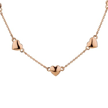 August Woods Rose Gold Hearts Necklace  - Click to view larger image