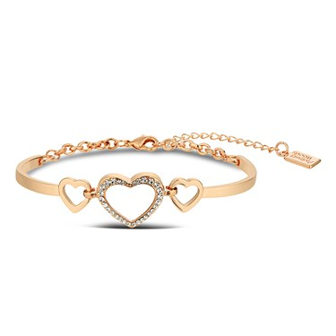 August Woods Rose Gold Open Crystal Heart Bracelet  - Click to view larger image