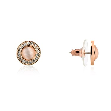 August Woods Rose Gold Pink Cateye Stone Earrings  - Click to view larger image