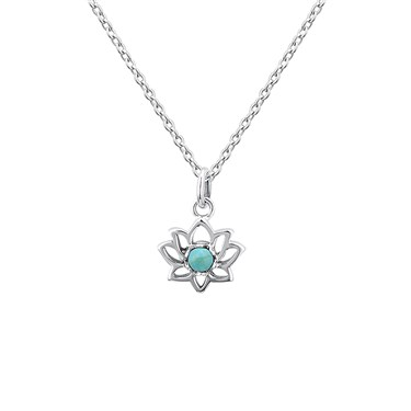 Argento Turquoise Lotus Flower Necklace  - Click to view larger image