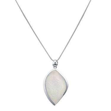 August Woods Silver White Teardrp Moonrock Necklace  - Click to view larger image