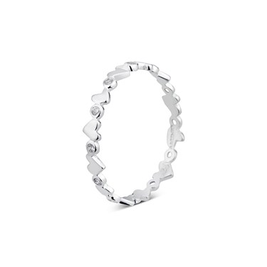 Argento Silver Heart Stacking Ring  - Click to view larger image