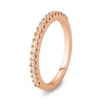 Argento Rose Gold Crystal Band Stacking Ring  - Click to view larger image