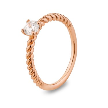 Argento Rose Gold Crystal Stacking Ring  - Click to view larger image
