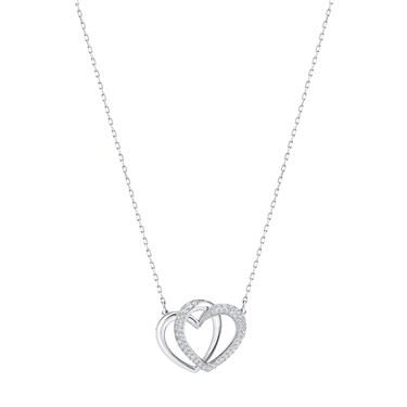 Swarovski Dear Heart Rhodium Crystal Necklace  - Click to view larger image