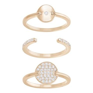 Swarovski Rose Gold Circle Ring Set