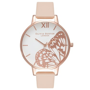 20bf1e1576e2 Olivia Burton Nude Peach Butterfly Watch - Click to view larger image