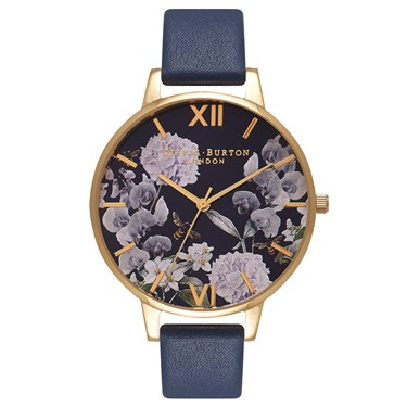 Olivia Burton Enchanted Garden Navy Watch  - Click to view larger image