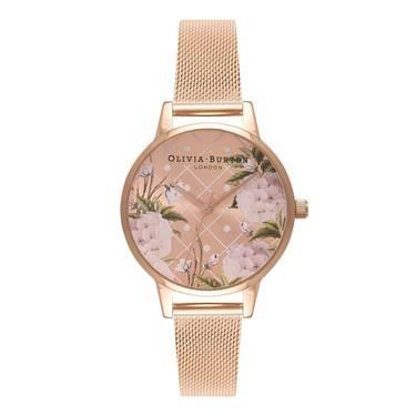 Olivia Burton Dot Design Rose Gold Mesh Watch  - Click to view larger image