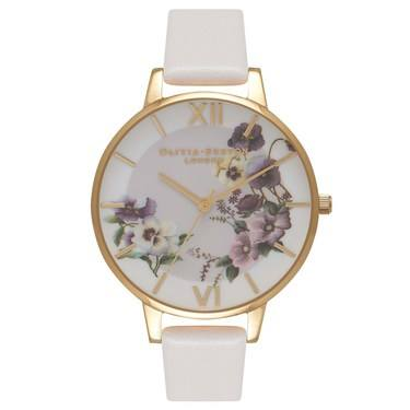 Olivia Burton Pansy Blush & Gold Watch  - Click to view larger image