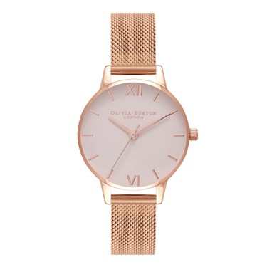 Olivia Burton Blush Midi Dial & Rose Gold Mesh Watch  - Click to view larger image